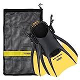 US Divers Trek Travel Fin with Mesh Carrying Bag, Yellow, Medium