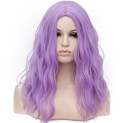 OneUstar Women's Light Purple Wig 18 inch Long Wavy Curly Wig Cosplay Party Wig