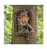 KPNG Gartenzwerge wetterfest Garten GNOME Statue, GNOME Baum Fensterharz Garten Figuren, Baum Huggers Garden Decor Wunderliche Baum Skulptur Garten Dekoration