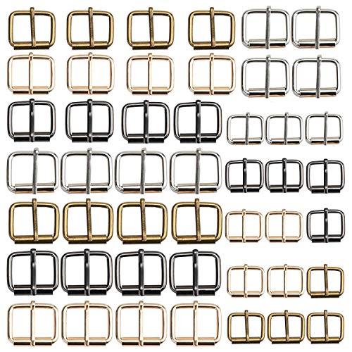 Osuter 60PCS Fibbie a Rullo in Metallo Fai da Te Fibbia della Cintura Fibbie per Cintura Borsa Fabbricazione e Artigianato(16mm/20mm/25mm)