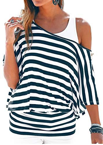 Uniquestyle Damen Gestreiftes T-Shirt Sommer Kurzarm Oberteile 2 in 1 Strandshirt (Blau, X-Large)