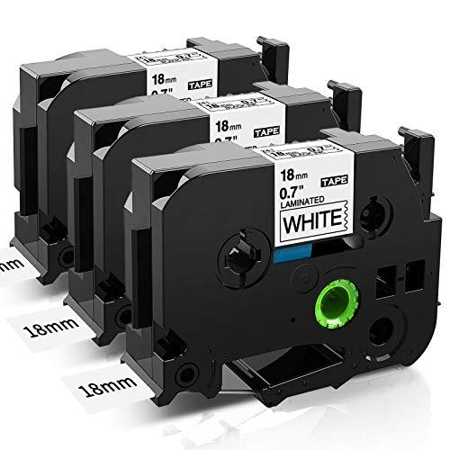 COLORWING Kompatibel Schriftband Ersatz für Brother P-touch 18mm TZ TZe-241 Tze241 Tape für Brother P-touch PT-1830 D400 D400VP D450 PT-2430, tze 18mm Etikettenband Cassette Schwarz auf Weiß 3er