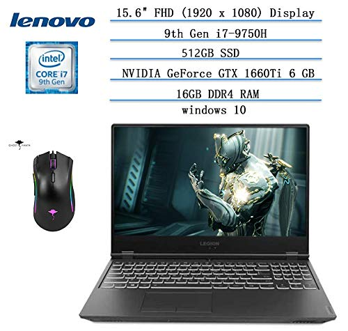 """Newest Lenovo Legion Y540 15.6"""" FHD Gaming Laptop, 144Hz i7-9750H(6 cores 12MB, Beat i7-8700), 16GB RAM, 512GB SSD,NVIDIA GTX 1660Ti 6GB GDDR6, Legion Ultimate Support Win10 w/Ghost manta gaming mouse"""