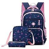 Mochilas escolares con diseño de patrón para niñas con caja de almuerzo y estuche, bolsas escolares para estudiantes primarios, viajes, camping, mochila impermeable Azul azul Taille unique