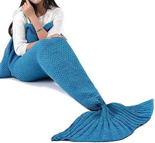 LAGHCAT Mermaid Tail Blanket Crochet Mermaid Blanket for Adult, Soft All Seasons...