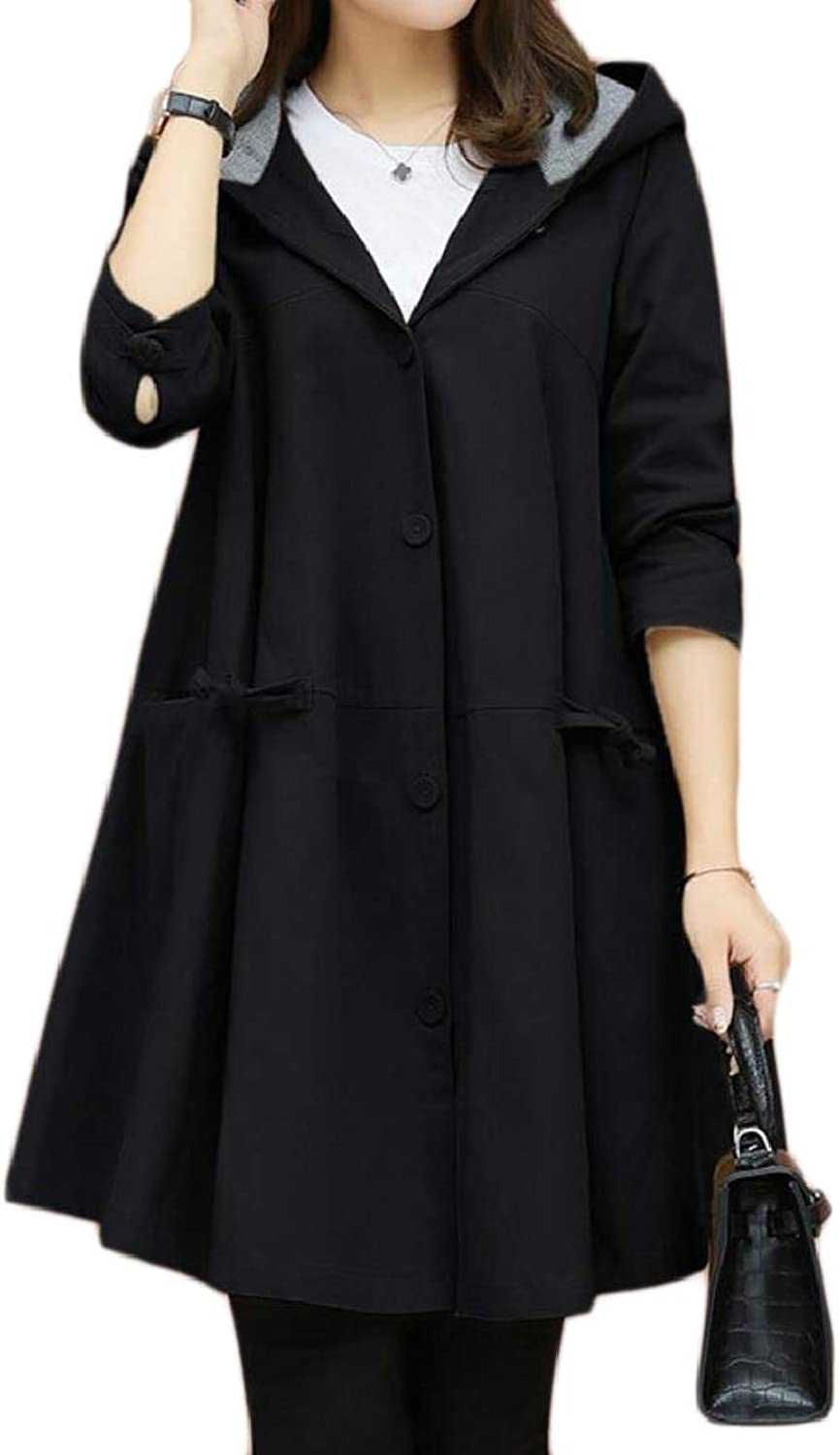 RGCA Women Flared Overcoat Single Breasted Jackets Casual Hoodies Trench Coat