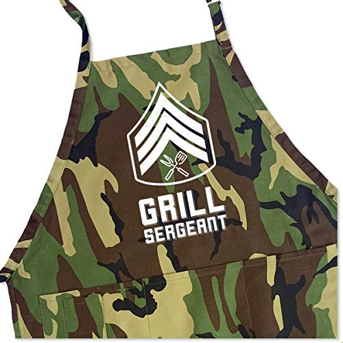 ApronMen - Grill Sergeant - Funny BBQ Apron for Dads - 1 Size Fits All Chef Quality Cotton 4...