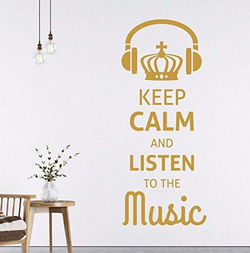 tjapalo® s-pkm196 100x39cm Wandtattoo Musik Flur Wohnzimmer Jugendzimmer Spruch Wandsticker Musiker modern keep calm and listen to the music
