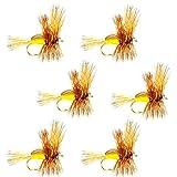 The Fly Fishing Place La Pesca con Mosca Lugar Amarillo Humpy Classic Trucha para Moscas secas Pesca Moscas–Set de 6Moscas tamaño 12