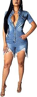 Fastkoala Womens Denim Short Sleeve Button Down Jumpsuit Romper Jeans Pockets Ripped Distressed Holes Outfits Clubwear