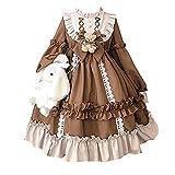 RkBaoye Vestido dulce de Lolita Disfraz de princesa de manga larga Anime japonés Criada francesa Vestidos de lujo con lazo de muñeca de oso Falda de cosplay linda Fiesta de Halloween