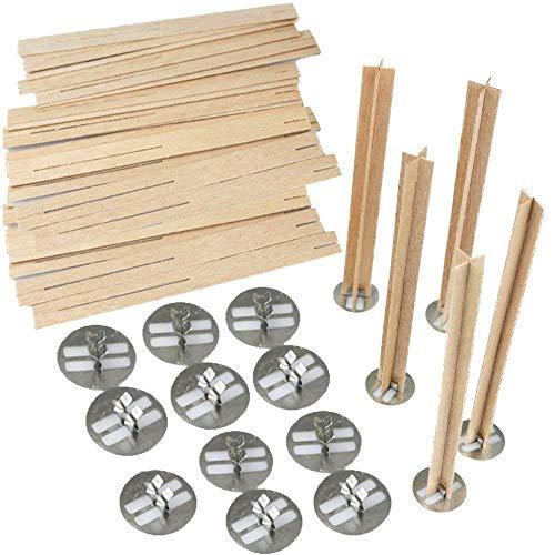 Zeagro 12,7 cm Kreuz Holz Kerzendochte 20 Sets, Holz Kerzendochte für Kerzen herstellen, Kerzen DIY