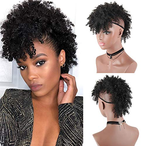 Aisaide High Puff Afro Ponytail with Bangs Drawstring,Short Kinky Curly Drawstring Ponytail Extension,Synthetic Clip in Mohawk Ponytail Bun with Bangs,Wrap Updo Clip in Hair Extensions with Six Clips