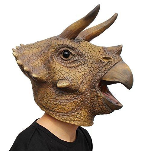 PartyCostume Festa in Costume di Halloween Maschera in Lattice a Testa di Animale Dinosauro Dino Triceratops