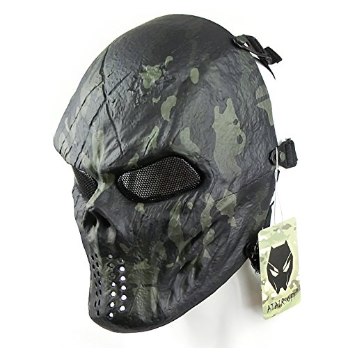 ATAIRSOFT Tactical Schützende Paintball Airsoft Kunststoff Hockey Cosplay Böse Half Face Maske