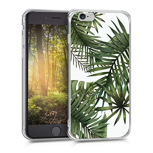 kwmobile Cover Compatibile con Apple iPhone 6 / 6S - Back Case Custodia in Silicone TPU Cover Trasparente Palme Verde/Bianco