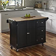 Constructed of hardwood solids and engineered wood in a Black finish with a natural solid rubber wood Top. With drop leaf in use, Depth measures 29 inches. Assembly required Size: 53. 5W 18D 36H