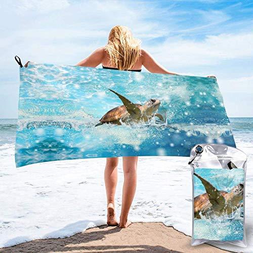 FLDONG Toalla de secado rápido con impresión de tortugas marinas, ultra suave, compacta, apta para camping, gimnasio, playa, hogar, 81.5 x 163 cm