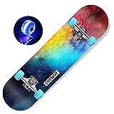 MJY Skateboard 31X8 inch Skateboard-Cruiser Anti-Skid Deck for Boys and Girls, 7 Layers Maple Leaf Wood Board, Skateboarding for Teenager Beginner Children Adult Scooter Professional Four Wheel Flash
