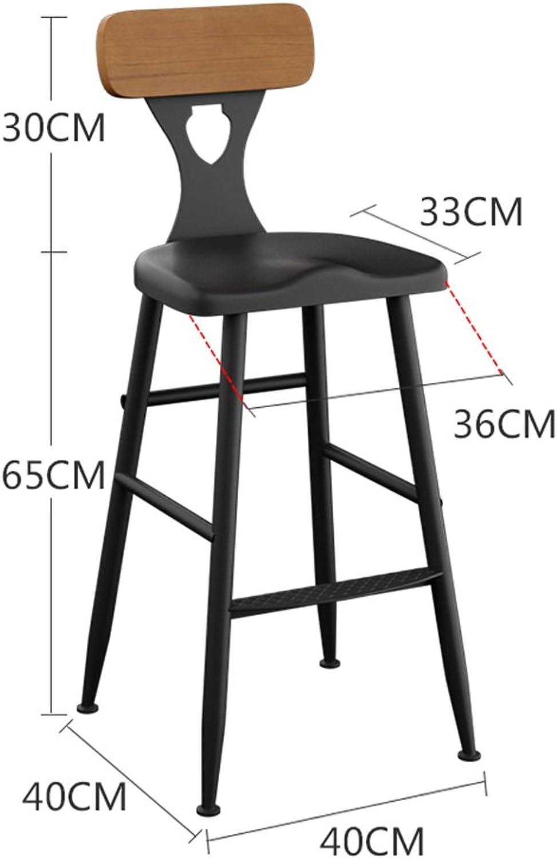FFLSDR Iron Bar Stools Bar Chair Home Back Chair High Stool Modern Minimalist Bar Stool Solid Wood High Chair (Size   65CM)