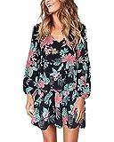 kenoce vestito donna casual manica lunga con scollo a v elegante t-shirt abito tinta unita sciolto a pieghe abito chic i-nero fiore s