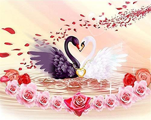 Diamond Painting 5D DIY Full Drill Kit Large Size Black White swan Love Crystal Rhinestone Embroidery Pictures Cross Stitch Craft Mosaic for Home Canvas Wall Deco Square Drill,50x60cm