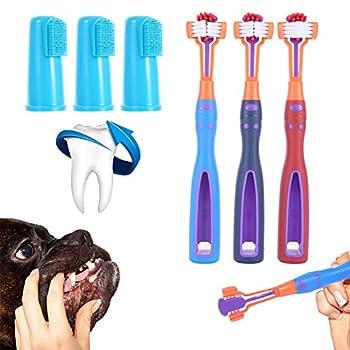 Lisi Brosse à Dents pour Chien à Trois Têtes Brosse à Dents pour Animaux avec Brosse à Dents à Doigts pour Animal Domestique Éviter Tartre et Santé Hygiène Dentaire - 6 Pièces