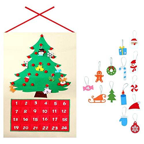 Ma Jia(TM Adventskalender Zum Befüllen, Filz Weihnachtskalender mit 24 DIY Weihnachtlichen Ornamente als Geschenk-Kalender für Kinder Mädchen Männer Erwachsene