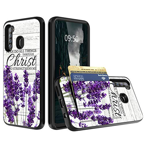 for Samsung Galaxy A21 Wallet Phone Case with Credit Card Holder, Shockproof Dual Layer Silicone Slim Cover with Soft TPU+PC Bumper for Samsung A21, Bible Lavender