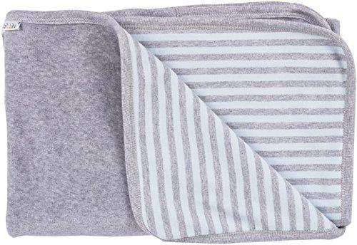 ioBio Babydecke Nicky blue-grey striped Bio-Baumwolle 90 x 70 cm