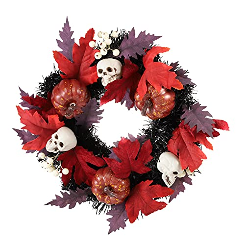 WINOMO Halloween Maple Artificiale Maple Leaf Viti Ghirlanda Cranio Zucca Anteriore Porta Ciondolo Appeso per Il Ringraziamento Raccolto Giorno di La Morte della