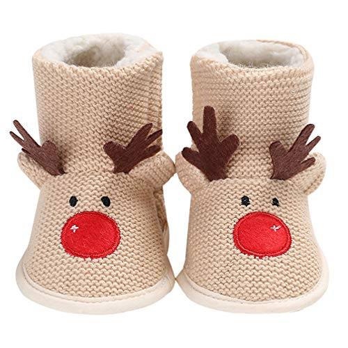 LUOEM Baby Christmas Reindeer Fleece Slipper Booties Shoes Infant Newborn Toddler Winter Warm Sleeper Boots for Baby Girl or Boy 0-12 Months (Size 1 Beige 13cm)