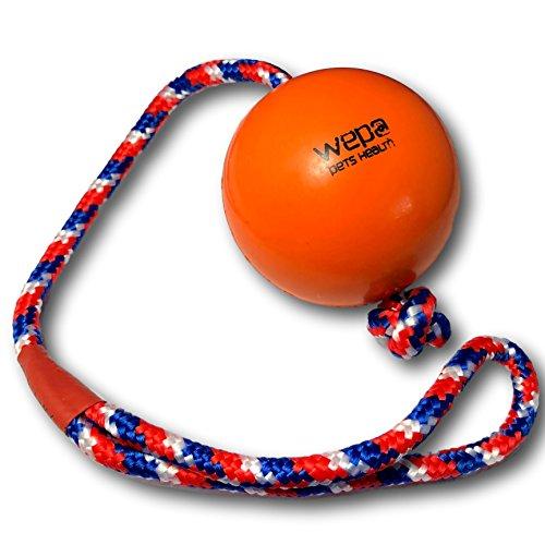 WEPO Hundespielzeug - Schleuderball mit Seil aus Naturkautschuk - Ideal für Welpen - Wurfball für Hunde- Welpenspielzeug - Ball mit Seil/Schnur (Orange)