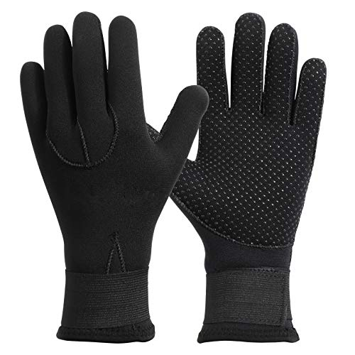 QKURT Guanti in Neoprene, 3mm Tropical Gloves High Stretch Gloves per uomini donne immersioni, surf, kayak, snorkeling, vela, canottaggio