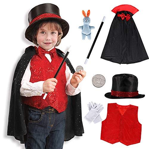 Tacobear 9Stk. Zauberer Kostüm Zubehör Set Kinder Magier Kinderkostüm Rollenspiel für Halloween Cosplay Weihnachten Geburtstagsparty (Schwarz&Rot)