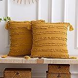 DEZENE Fundas de Almohada Decorativas Amarillas: Paquete de 2 Fundas de Cojín Cuadrado de Lino de Algodón a Rayas Boho de 45x45 cm con Borlas para Sillón de Sofá de Granja