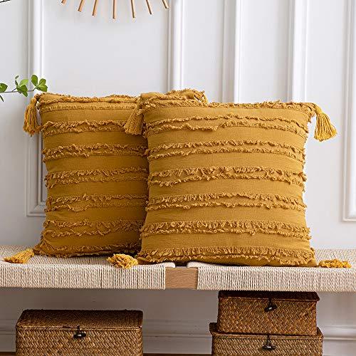 DEZENE Fundas de Almohada Decorativas Amarillas: Paquete de 2 Fundas de Cojín Cuadrado de Lino de Algodón a Rayas Boho de 40x40 cm con Borlas para Sofá de Sofá de Granja