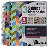 Top Flight Notebooks 3 Subject 3-Pack Multicolor College-Ruled (Geometric Teal Multicolor)