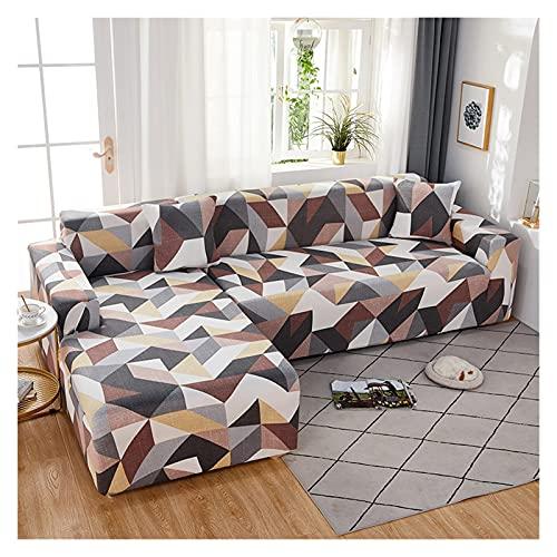 新しい幾何学的クッション保護カバーアームチェアカバーストレッチリビングルーム家具生地1/2/3/4シートソファカバー Seater (Color : 3, Size : 1 seat (90-140cm))