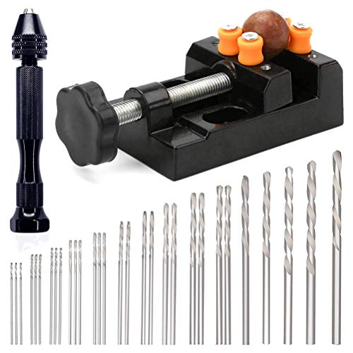 30 Pcs Pin Drill Set,Uspacific Universal Multiple Size Pin Vice with a Mini Carving Clamp for Craft Carving,DIY,Woodworking,Jewelry or Model Making