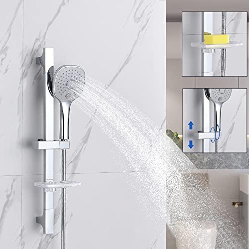 Barra de ducha corredera sin mezclador con 3 funciones, cabezal de ducha, jabonera y manguera de ducha de acero inoxidable de 150 cm de Auralum cromada.