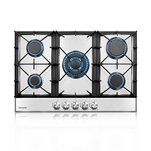 thermomate Gas Cooktop, 30 Inch Built In Gas Rangetop with 5 High Efficiency Burners, NG/LPG...