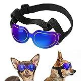 Lewondr Gafas de Sol Reflectantes Geniales para Mascotas, Anteojos Anti-Ultravioleta Niebla y Polvo con Correa Ajustable, Gafas Protectoras para Perros Pequeños para Fiesta Playa Viajar, Azul