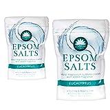 2unidades Elysium Spa Epsom sales de baño Natural Sulfato de magnesio cristales–eucalipto, 2x 450g