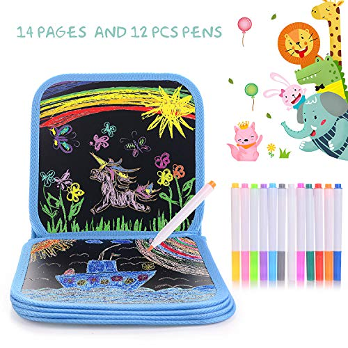 HellDoler Kinder Malbuch,Zeichenbrett für Kinder Malen und Zeichnen auf Reisen oder zu Hause mit 14 Seiten zum Schreiben und Zeichnen