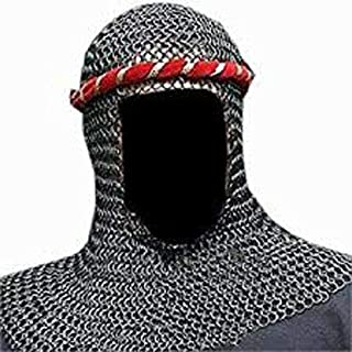 MS Hood Black Plated Butted Chainmail Round Neck Chain Mail Coif Medieval Armor