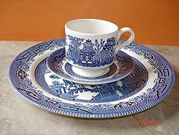 Churchill Blue Willow 3 Piece Dinner Set Plate Cup Saucer