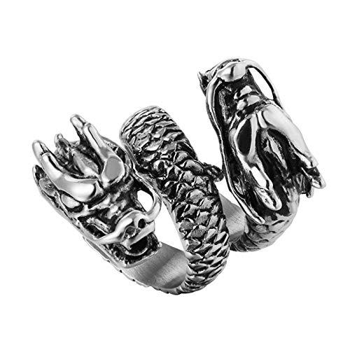 Retro Dragon Head Finger Anillos Para Parejas Mujeres Amantes Los Hombres 316l Banda Boda Acero Inoxidable-11