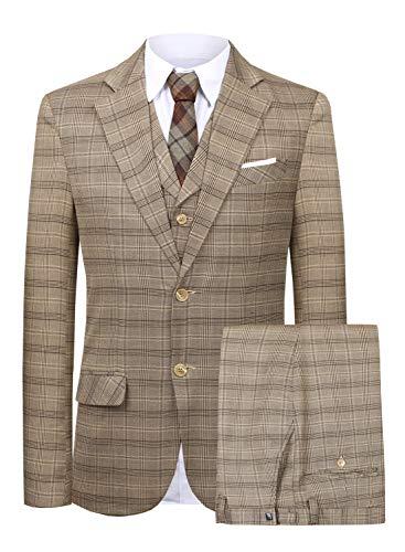 MY'S Men's 3 Piece Slim Fit Suit, One Button Jacket Blazer Vest Pants Set and Tie, Black, S?5'7-5'10?140-160lbs
