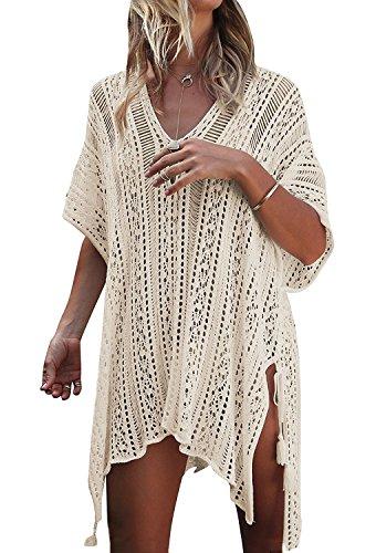 Minetom Mujer Camisolas Pareos Bikini Cover Up Boho Ganchillo Verano Hippie Tunica Vestido De Playa Encaje V-Cuello Traje Ropa De Baño